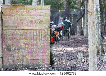 Saint-Petersburg, Russia - April 24, 2016: Paintball tournament in Snaker club between student teams from five universities. Interview with organizators.