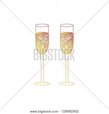 Champagne glass with abstract doodle pattern. Christmas collection. Vector illustration.
