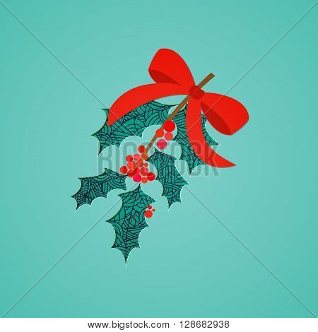 Abstract mistletoe with red bow. Christmas collection. Vector illustration.