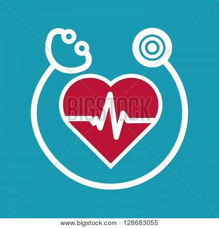 cardiology icon flat style. Stock vector. Vector illustration.