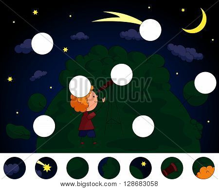 A Boy With A Telescope Looking At The Comet In The Night Sky With Stars And Moon. Complete The Puzzl