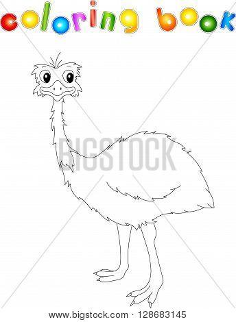 Funny Cartoon Emu. Coloring Book