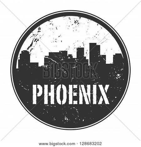 Grunge rubber stamp or label with name of Phoenix, Arizona, vector illustration