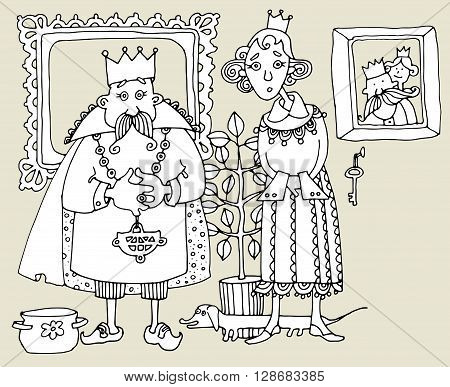 King and Queen cartoon. Hand drawn illustration