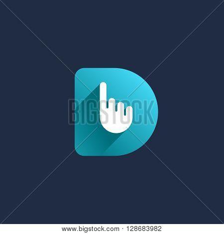 Letter D Hand Logo Icon Design Template Elements