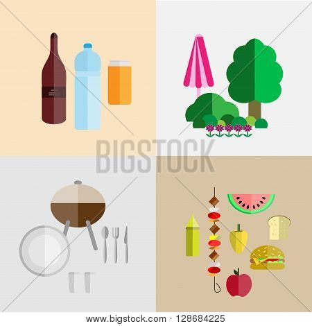picnic icon set with four components of a picnic: food drinks utensils and grill nature