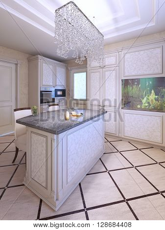 Avantgarde kitchen with white pattern furniture fabric bar chairs in white color with dark brown wooden carcas. Crystal chandelier. 3D render