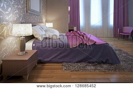 Master bedroom in avantgarde style. Purple and pink color in interior. Wool gray carpet. 3D render