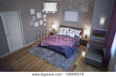 Avantgarde bedroom in grey color trend. Paged milano bed tick pile wool carpet. 3D render