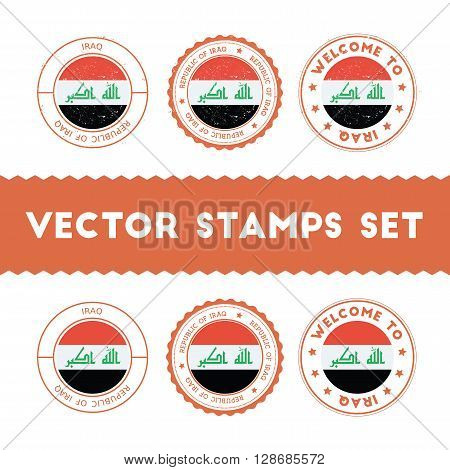 Iraqi Flag Rubber Stamps Set. National Flags Grunge Stamps. Country Round Badges Collection.