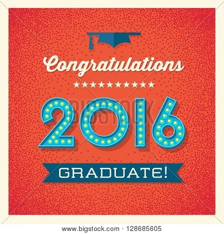 retro graduation card design with vintage marquee light bulb sign numbers