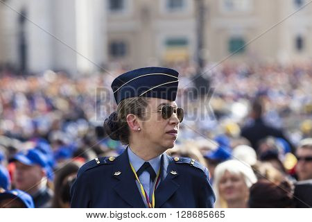 Rome Italy - April 30 2016: Air Force Official Woman belonging to departments FAC (Forward Air Controller) in St. Peter's Square during the day dedicated to the jubilee of the Army and the Police.
