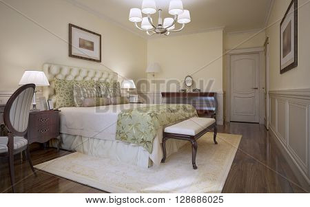 Traditional bedroom classic style. Grand guest bedroom with light tone soft bed TRS tufted headboard mahogany furniture and darkwood flooring. 3D render
