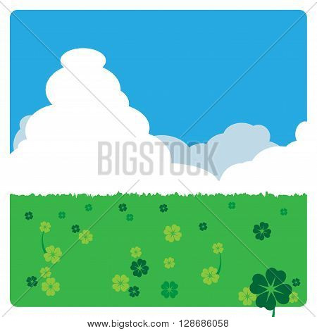 4 leaves clovers meadow landscape in sunny day