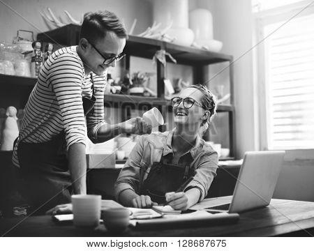 Man Woman Craftsman Talking Ideas Concept