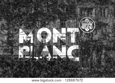 BADEN-BADEN, GERMANY  - MAY 4: MONTBLANC sign . Mont Blanc is a German manufacturer of luxury writing instruments. Germany, Baden-Baden, May 4, 2016