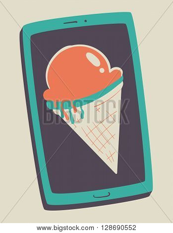 Vector illustration of a melting ice cream cone inside a cell phone screen.