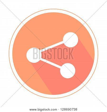 Media sharing flat icon orange color isolated on white background