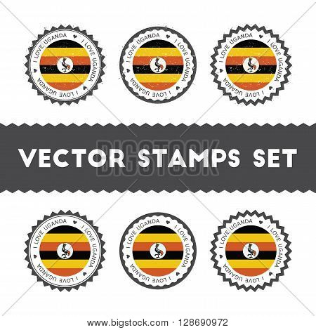 I Love Uganda Vector Stamps Set. Retro Patriotic Country Flag Badges. National Flags Vintage Round S