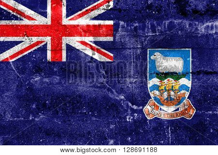 Flag Of Falkland Islands, Painted On Dirty Wall. Vintage And Old Look.