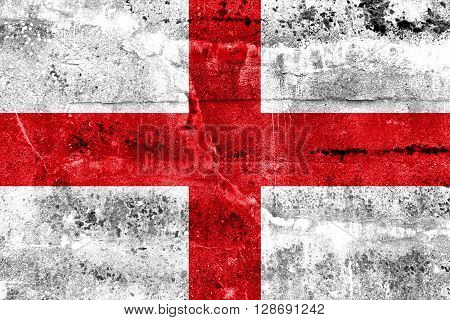 Flag Of Genoa, Painted On Dirty Wall. Vintage And Old Look.