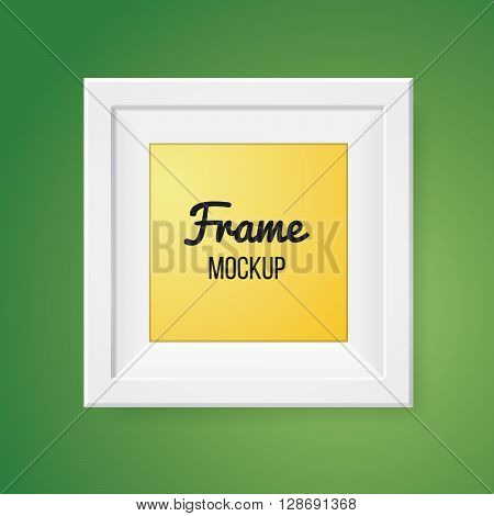 Blank frame template isolated on green wall. Mockup. Portfolio element. Art concept. White modern frames on the wall, realistic vector illustration. Presentation or slide page element.