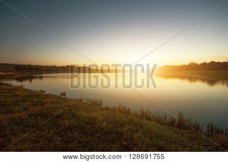 Sunset by the beautiful lake