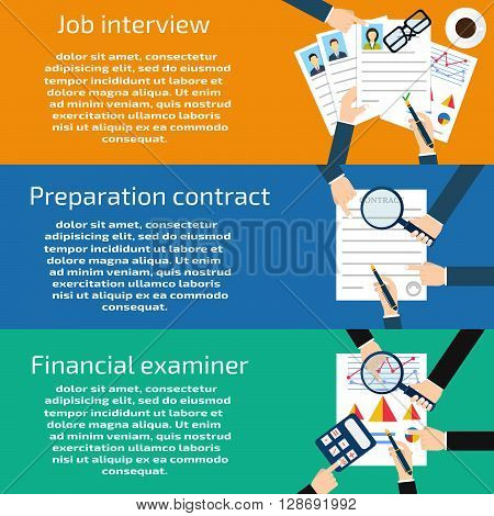 Job interview Preparation business contract Financial examiner banners set