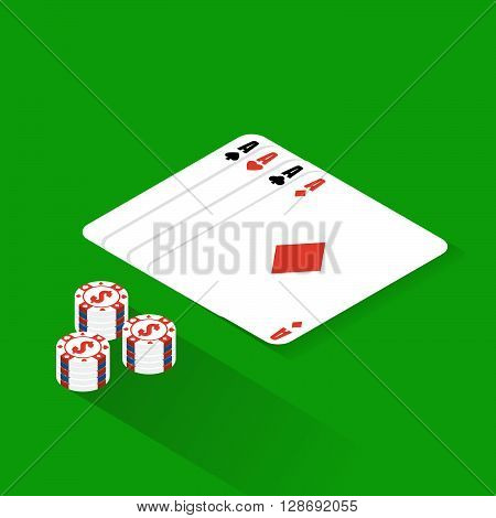 Flat Poker Table. Flat Poker Table Isometric