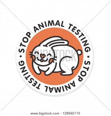 Stop animal testing rabbit isolated vector badge