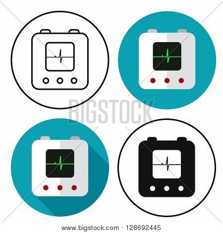 Defibrillator icon set. Stock vector. Vector illustration.