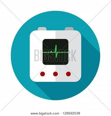 Defibrillator Icon Flat Style