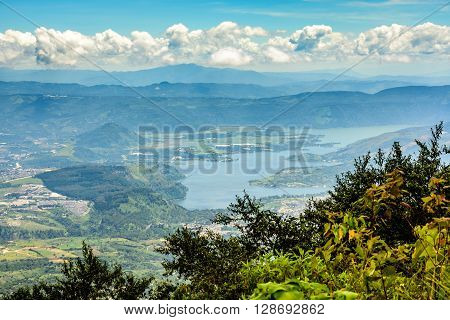View from hilltop near Antigua of Lake Amatitlan near Guatemala City.