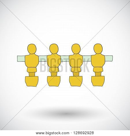 Table football players. Hand-drawn cartoon icon of foosball player. Doodle drawing. Vector illustration.