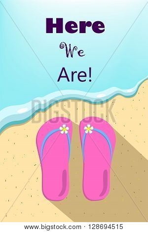 Slippers and ocean, wave illustration, vertical vector illustration for summer holiday with place for text