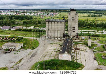Bird eye view on grain elevator. Golyshmanovo