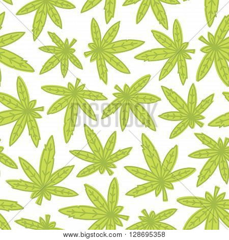 Marijuana ganja weed hand drawn seamless vector background