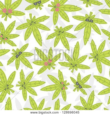 Cartoon kawaii weed rasta seamless vector pattern