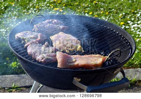 barbeque grill with fresh meat in evening sun