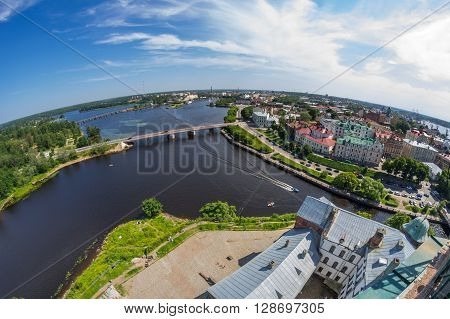 Fish-eye view on buildings of Vyborg Russia