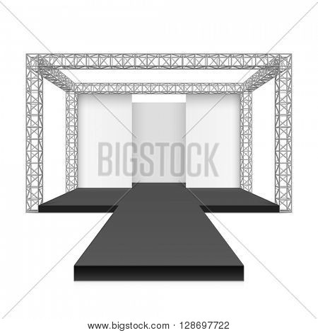 Fashion runway podium stage, metal truss system vector illustration