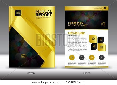 Gold Annual report template gold cover design brochure flyer info graphics elements leaflet newsletter