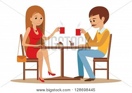 Couple sitting in the cafe, flirting and talking about something. Boy and a girl on a date in a cafe drinking coffee. Vector illustration of template for menu, brochure, flyers for cafe or restaurant.