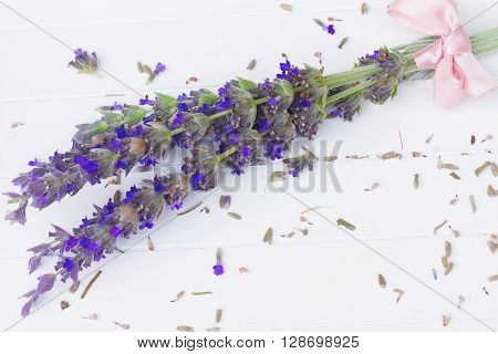 Fresh  cut lavender flowers  on white wooden table
