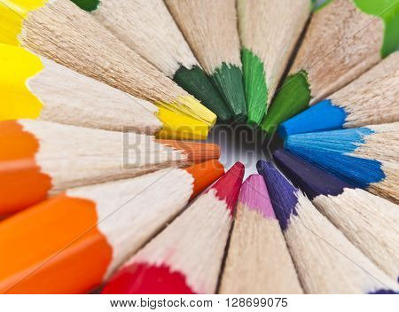 A set of colored pencils close-up. It can be used as a background
