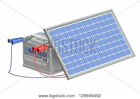 battery car with solar cell panel 3D rendering