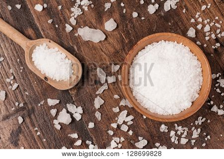 Marine Coarse salt over a wooden table