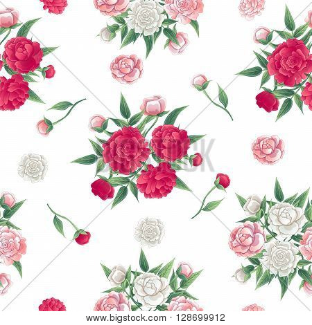 Floral Seamless Pattern Peonies Background. Pink and White Peon Vector illustration