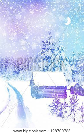 The village in winter forest. christmas, hamlet