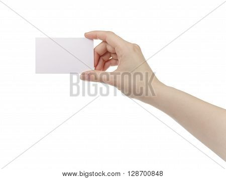 young womans hand holds and shows empty paper card, isolated on white background